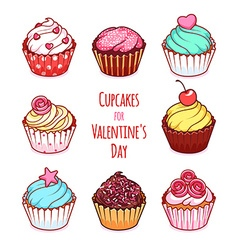Cupcakes for Valentines Day vector image