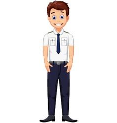 Cute cartoon pilot posing vector