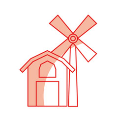 farm stable building with windmill vector image