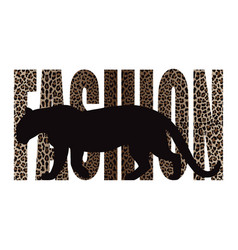 Fashion t-shirt print with leopard silhouette vector