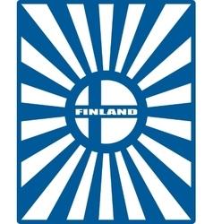 finland flag on sun rays backdrop vector image