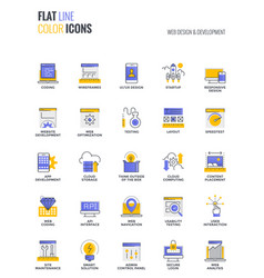 flat line multicolor icons design-web design and vector image