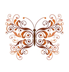 Floral butterfly design element vector