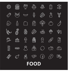 food editable line icons set on black vector image
