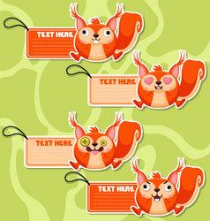 Four cute cartoon Squirrels stickers vector