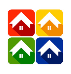 Global housing rounded square icons vector