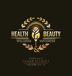 gold retro badge of the health and beauty vector image