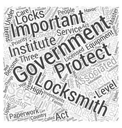 Government Locksmiths Word Cloud Concept vector
