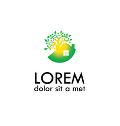 Green house and tree logo vector