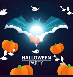 halloween cartoon paper pumpkin and vector image