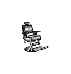 hand drawn barber shop chair vintage barber logo vector image