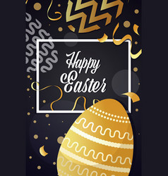 happy easter template with square frame gold vector image