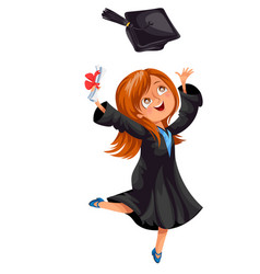 Happy smiling girl in gown with diploma throwing vector