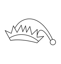 hat of elf wear christmas icon line vector image