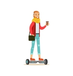 Hipster With Coffee Paper Cup Riding Electric Self vector