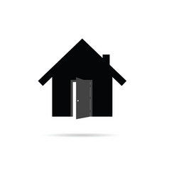 House icon with open door vector