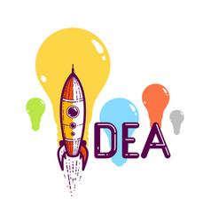 idea word with rocket instead letter i vector image
