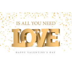 inscription love in gold letters vector image