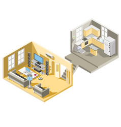 Isometric design of a living room and vector