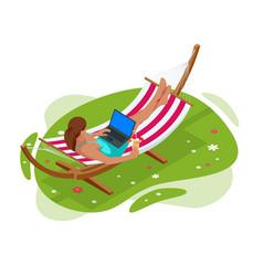 Isometric garden hammock relaxing in hammock vector
