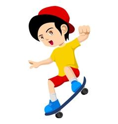 Kid Playing Skateboard vector image