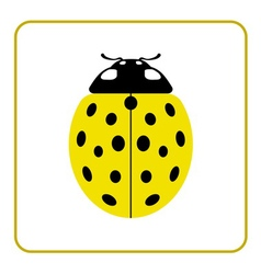 Ladybug yellow realistic cartoon icon vector