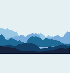landscape with blue silhouettes hills vector image