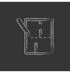 Layout of the house Drawn in chalk icon vector
