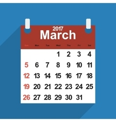 Leaf calendar 2017 with the month of March days vector image