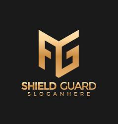Letter ag ga shield guard modern logo stock vector