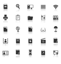 library icons with reflect on white background vector image