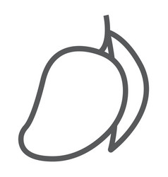 Mango line icon fruit and vitamin tropical vector