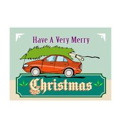Merry Christmas Tree Car Automobile vector image