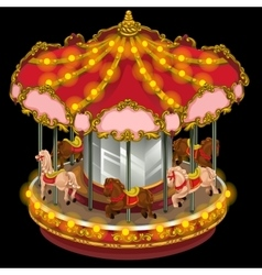 Merry-go-round with horses on a black background vector