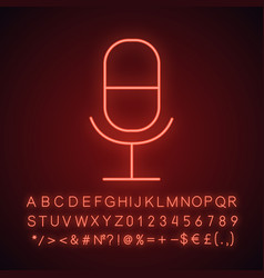 microphone neon light icon vector image
