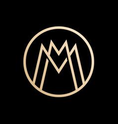 mm lettermark monogram circle round logo vector image