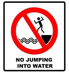No jumping into water vector