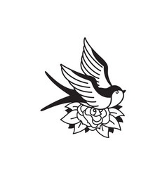 Old school tattoo emblem label with swallow rose vector