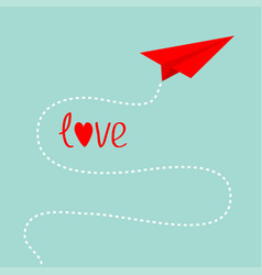 Origami red paper plane dash line in the sky love vector