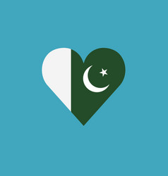 pakistan flag icon in a heart shape in flat design vector image