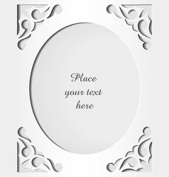 Paper cutout card Template frame design vector image