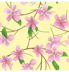 Pattern with peach flowers vector