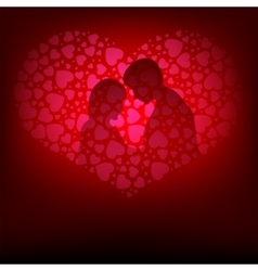 Pink designthe silhouette of lovers vector image
