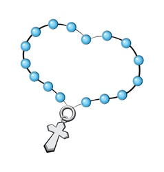 Rosary with a cross Icon object on white vector image