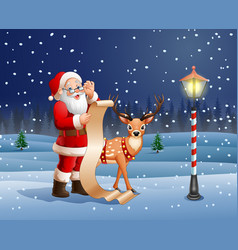 santa claus reading a long list of gifts vector image