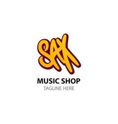 sax - logo for music shop in comic style vector image