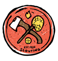 Scouting club emblem with crossed ax and nettle vector