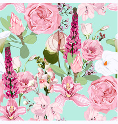 seamless pattern with garden roses and exotic vector image