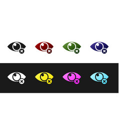 set invisible or hide icon isolated on black and vector image
