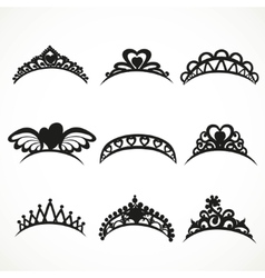 Set silhouettes of tiaras of various shapes vector image
